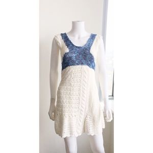 Desingual Crochet Mini Dress Size M